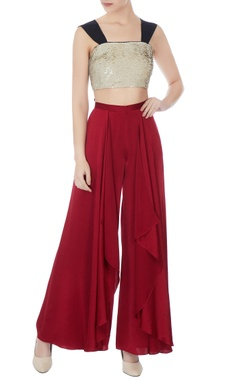 Gold satin sequinned rope straped crop top
