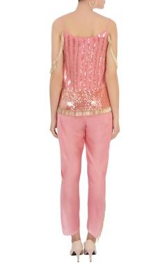 pink tassel embellished top with dhoti pants & dupatta