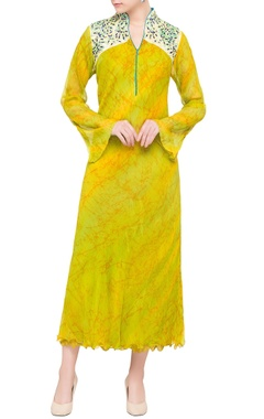 yellow printed chiffon midi dress