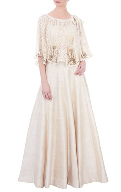 cream solid skirt with bustier and embroidered cape