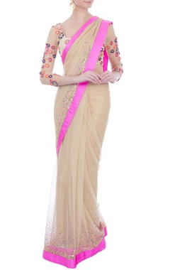 beige embellished sari with embroidered blouse