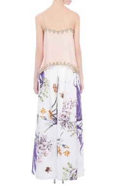 white & baby pink embroidered & printed blouse with palazzo pants