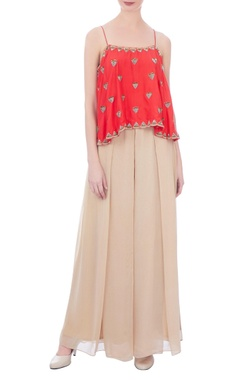 coral & beige embroidered cami blouse with pants