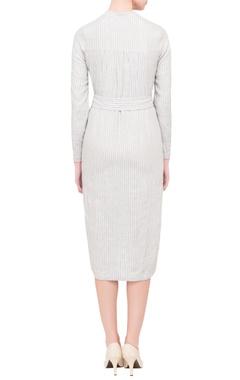 grey striped maxi jacket dress