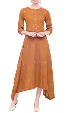 Brown linen asymmetric long kurta