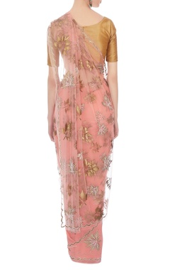 peach net embroidered sari