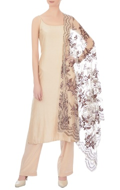 beige chanderi & net pant set with painted dupatta