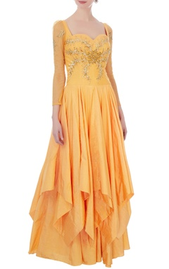 yellow ruffle layer net & cotton satin gown