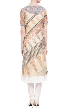 multicolor printed kurta with inner tunic