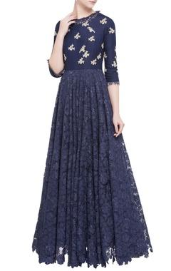 navy blue super flared bird motif gown