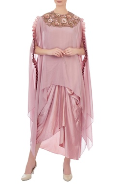 pink embellished cape with skirt