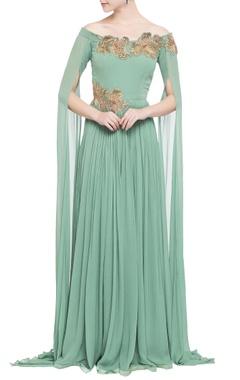 sea green zardozi embroidered gown