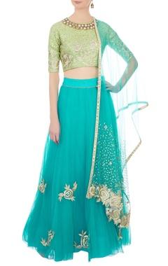 light green & aqua blue embroidered lehenga set
