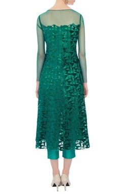 green embellished kurta with cigarette pants and dupatta
