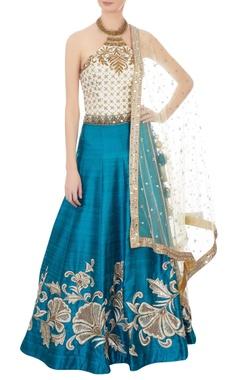 beige & aqua blue embroidered lehenga set
