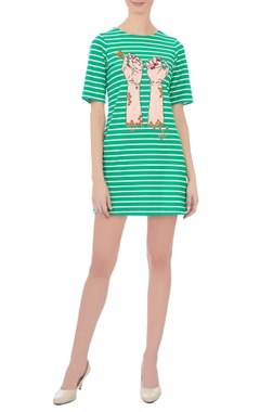 Green & white striped hand motif dress