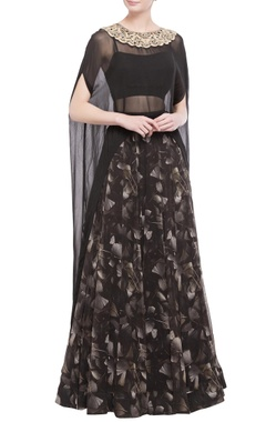 black gingko print skirt, blouse with cape