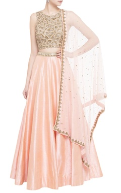 peach raw silk lehenga with embroidered blouse