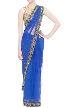 royal blue georgette sari with embroidered blouse