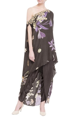 black cotton satin & tabby silk printed one shoulder cape with dhoti pants