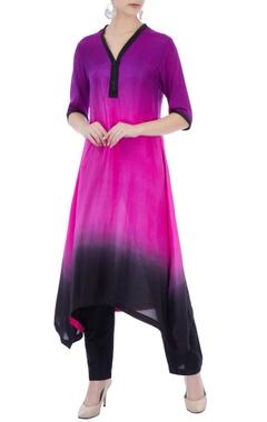 black & purple color-block pure silk kurta