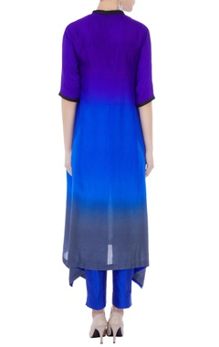 Blue ombre pure silk asymmetric kurta
