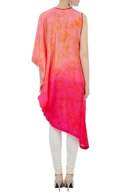 peach & pink silk one shoulder kurta