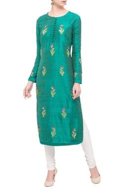 teal green raw silk zardozi kurta