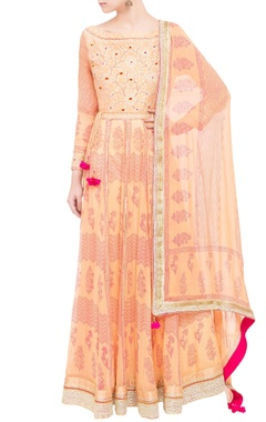 peach raw silk & georgette gota work anarkali set
