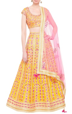 Yellow silk gota work lehenga with pink dupatta