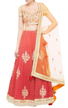 beige & red brocade & silk lehenga set with orange dupatta