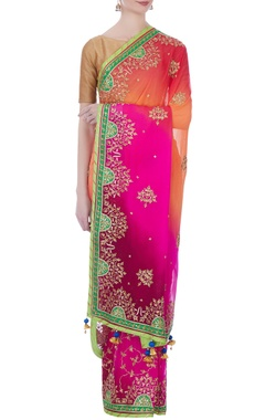 multicolored shaded georgette danka sari