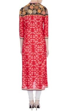 red & pink silk applique kurta