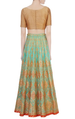 blue & green silk lehenga with dupatta