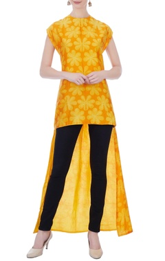 yellow & orange floral high low kurta