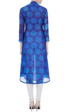 blue chanderi floral dye kurta