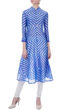 blue flared chanderi kurta