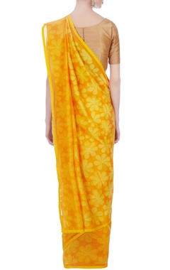 yellow chanderi floral motif sari