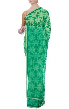green floral chanderi sari