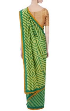 green & yellow geometric chanderi sari