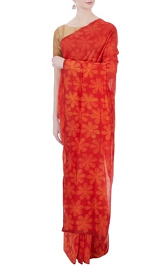 red & yellow floral shibori sari