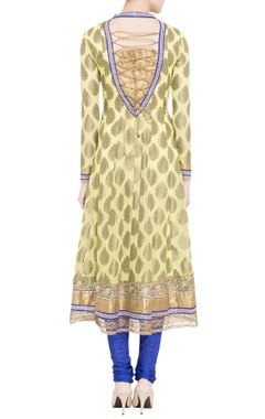 yellow embroidered anarkali with blue churidar & dupatta