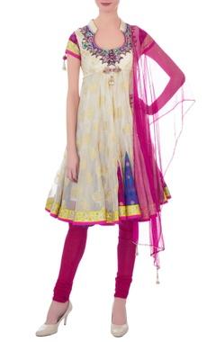 white & pink silk embellished kurta with churidar