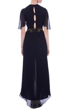 black embellished asymmetric maxi dress
