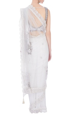 white tulle & stretch fabric embellished sari with blouse