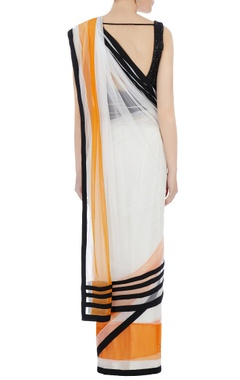 white & orange tulle sari & blouse