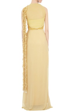 yellow georgette & tulle embroidered maxi dress