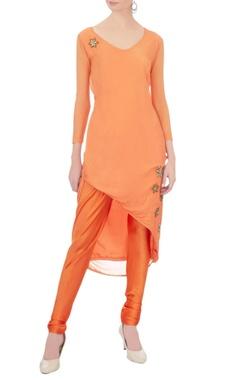 orange georgette embellished kurta set