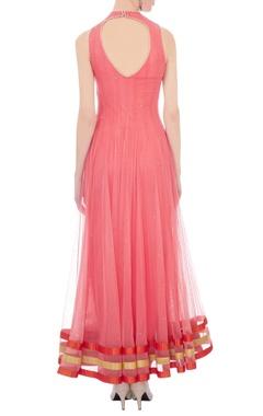 rose pink & orange tulle embellished kurta set