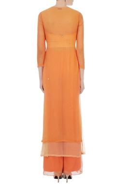 orange georgette & chiffon embroidered kurta with dupatta